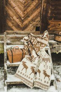 Blanket Throw Bed Sofa Fleece Cozy Plaid Soft Warm 100% Wool 130x200cm Elk Brown