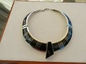 Christin Wolf Heavy Sterling Silver Black Onyx Enamel Hinged Necklace 148 Grams