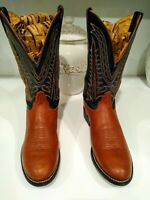Tony Lama Cowgirl Western Rodeo Boots Women's Size 8.5 B Green Brown Leather