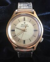 Vintage Bulova Accutron Men's Wristwatch Stretch Band Gold Tone