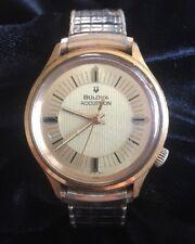 Vintage Bulova Accutron Men's Wristwatch Stretch Band Gold Tone