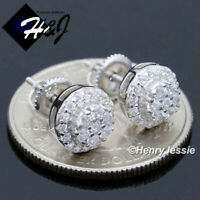 MEN WOMEN 925 STERLING SILVER ROUND 8MM LAB DIAMOND BLING STUD EARRING*E32