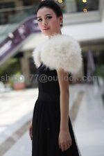Real Ostrich Feather furry Fur waistcoat bolero sleeveless Wedding bolero brida