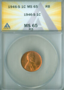1946-S Lincoln Wheat ANACS MS-65 RB FREE S/H (2127381)
