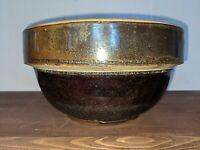"Vintage Stoneware Earthware Dark Brown Mixing Bowl With 8"""