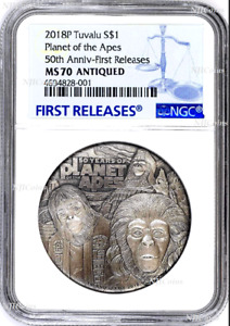 2018 Planet of the Apes 50th Ann. SILVER $2 2oz COIN NGC MS 70 ANTIQUED FR