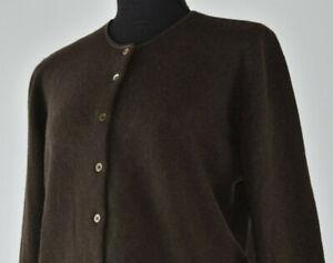 Brunello Cucinelli Size L/M Knit Cardigan Sweater Cashmere Brown Leather Trim IT