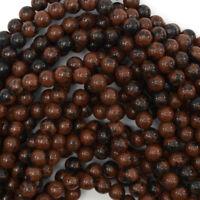 "Brown Mahogany Obsidian Round Beads Gemstone 15"" Strand 4mm 6mm 8mm 10mm 12mm"