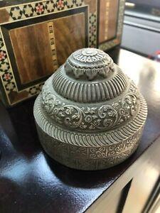 ANTIQUE 19 THC KASHMIR INDIAN HANDMADE SILVER DECORATIVE GIFT BOX SUGAR BOWL