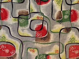 VTG MCM MID CENTURY RETRO RED GREEN GEOMETRIC CARAVAN BARKCLOTH FABRIC CUTTER 2Y