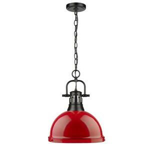 Golden Lighting Duncan 1-Light Black Pendant and Chain with Red Shade