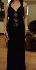 Halter dress evening gown crystal aplique formal prom pageant floor length