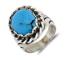 VTG Navajo Handmade .925 Sterling Silver Natural Deep Blue Bisbee Turquoise Ring