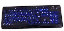 BACKLIT BLUE  ILLUMINATED LED USB MULTIMEDIA KEYBOARD UK LAYOUT FULL SIZE WIRED