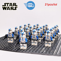 21Pcs lego Star Wars Clone Trooper 501st Army trooper Minifigures lego MOC Toys