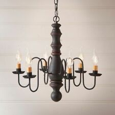 Country new MANASSAS hartford black with red stripe wood chandelier / Nice