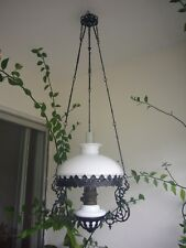 Antique/Vintage Ceiling Lamp complete with Funnel & Glass Frosted Shade RARE