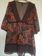 LADIES Top E-VIE COLLECTION SEMI SHEER GYPSY BOHO *SIZE 12 (M) LOOSE TUNIC 100%R
