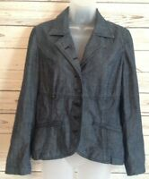 J Jill womens size 6 jacket blazer denim button front long sleeve  blue