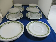 Vtg Corelle by Corning Ware~Crazy Daisy Spring Blossom 4-Cups, 6-Saucers 3-B&B