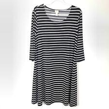Chico's | Black White Stripe Swing Dress Size 2 Large