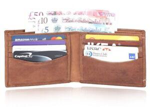 Mens Leather Wallets 100% Real Genuine Slim Tan Credit ID Card Photo Holder UK