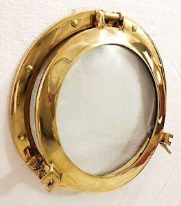 "12"" Brass Porthole Windows Glass Antique Nautical Boat Port Photo Frame Wall Dec"