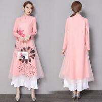 Womens Chinese Ethnic Style Floral Print Qipao Dress Vintage Fashion Elegant Hot