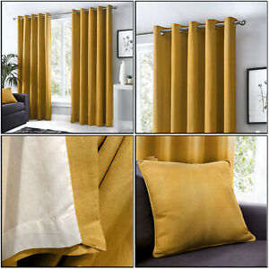 Fusion Ochre Mustard Eyelet Curtains 100% Cotton Lined Ring Top Curtains Pair