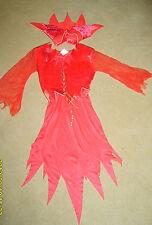 GIRLS CHILDS RED DEVIL GIRL HALLOWEEN FANCY DRESS COSTUME S AGE 4-6 YRS