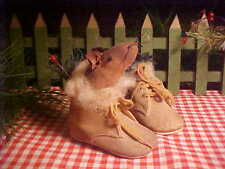 Sweet Brown Vintage Baby Shoes Xmas MOUSE and Foliage & Primitive Santa Gift Tag