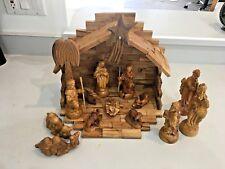 VINTAGE Handmade Wooden Nativity14 Piece Set