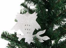 3x Luccicante GUFO BIANCO Natale albero di Natale Decorazione Da Appendere
