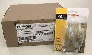 Lot of 12 SYLVANIA Decor Clear 40 Watt Blubs - Candelabra Base - 120V - 40B10C