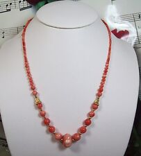 Genuine Natural Dark Pink Coral Necklace With 14K GF Clasp. Graduated. DCR010