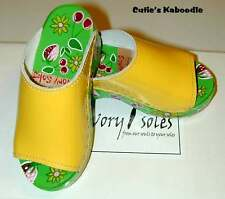NEW SAVORY SOLES Yellow Handpainted Wooden Leather Wood Clogs Shoes $89 10 EU 27