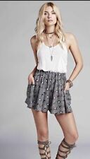 FREE PEOPLE BLACK COMBO SO MUCH SUN PLEATED FLARE SKIRT W/SIDE FLAP POCKETS MED