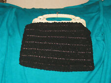 Vintage crochet purse with plastic or bakelite handles