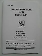 Lister Instruction Book and Parts List for Start-O-Matic Air Cooled Diesel