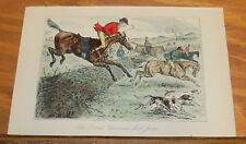 1858 Antique Fox-Hunting COLOR Print///THE RICHEST COMMONER'S FIRST JUMP