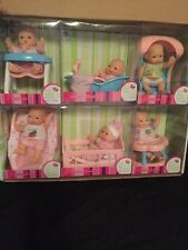 WolVol Set of 6 Mini Dolls with Cradle High Chair Walker Swing Bathtub Infant