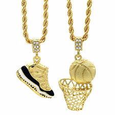 "Gold Plated Hip Hop Retro 11 ""Concord"" & Basketball Pendant 4mm 24"" Rope Chain"