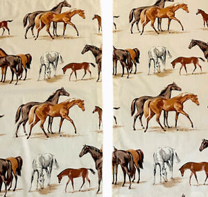 """Horses Grazing cafe curtain panes pair Rod 1"""" Pocket Vntg 44.5"""" long 22 1/4 wide"""