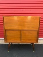 Mid Century Modern Bar Cabinet with Mirrored Glass