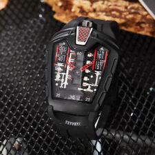 Full Black Big Dial Triangle Sport Watch Men Rubber Strap Band Quartz Wristwatch