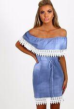 Womens Blue Lace Crochet Trim Off Shoulder Bardot Denim Effect Tunic Mini Dress