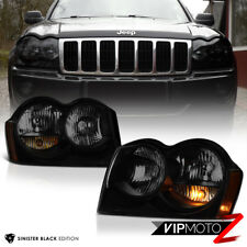 2005-2007 Jeep Grand Cherokee Darkest Smoke Sinister Black Headlights Left Right