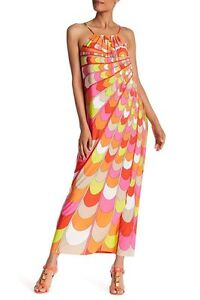 NWT Trina Turk Bennie Orange-Multi Jersey Maxi Dress $258