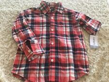 NEW Carters Boys Red White Blue Plaid Button Down Long Sleeve Shirt 3T