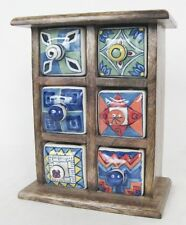 CERAMIC 6 DRAWER ALMIRAH CHEST JEWELLERY TRINKETS SPICES SOLID MANGO WOOD